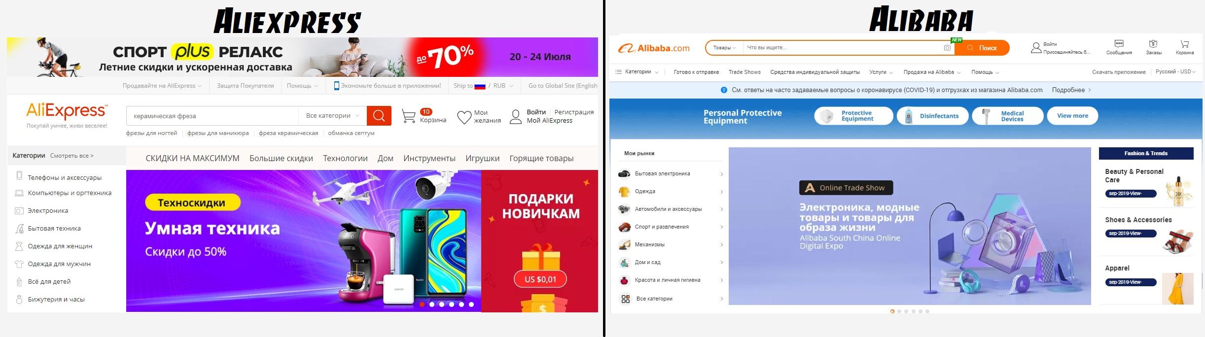 Интерфейс сайтов Aliexpress и Alibaba
