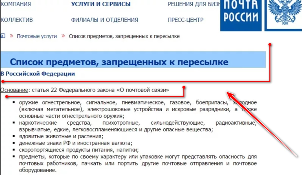 Список предметов, запрещенных к пересылке на территорию РФ
